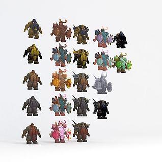 游戏卡通怪物3d模型