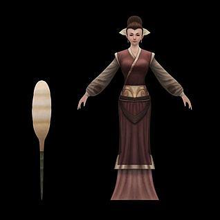 小姐丫环角色3d模型
