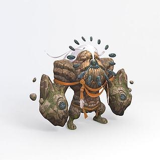 石头怪游戏角色3d模型