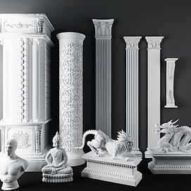 欧式石膏雕花罗马柱模型