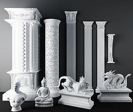 欧式石膏雕花<font class='myIsRed'>罗马柱</font>3d模型