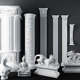 欧式石膏雕花罗马柱3d模型