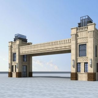 欧式住宅小区大门3d模型