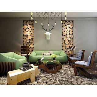 客厅木桩墙沙发椅子组合3d模型
