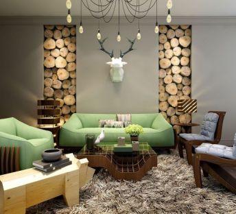 客厅木桩墙沙发椅子组合