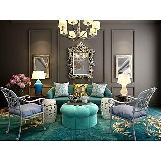 简欧奢华绒沙发单椅组合3d模型