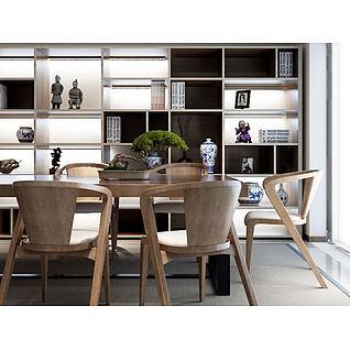 新中式实木餐桌椅3d模型