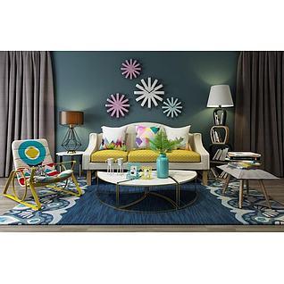 小清新客厅沙发椅子组合3d模型