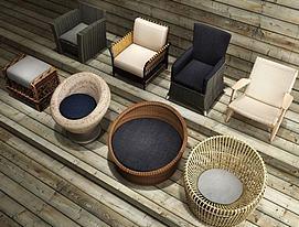 现代休闲椅组合3d模型