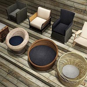 3d现代休闲椅组合模型