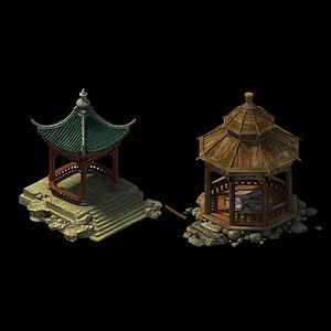 游戏场景凉亭模型
