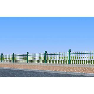 铁艺竹节围栏3d模型