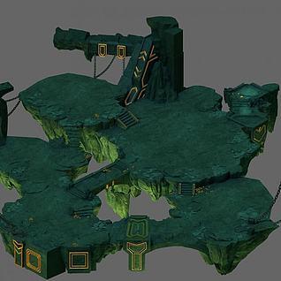 游戏场景地形3d模型