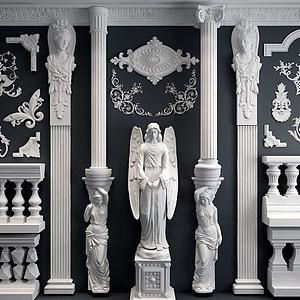 欧式雕花罗马柱模型