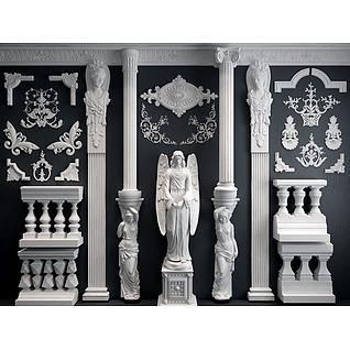 欧式雕花罗马柱3d模型