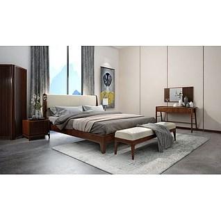 康耐登新中式床3d模型