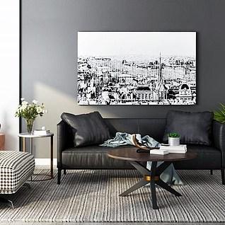 现代皮革沙发茶几组合3d模型