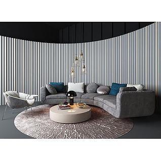 简约沙发水晶吊灯组合3d模型