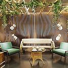 户外休闲绿植墙桌椅组合模型