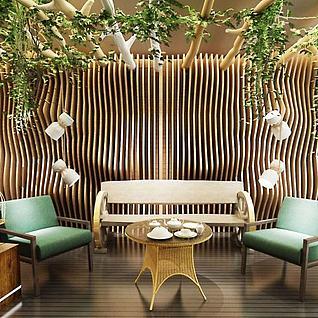 户外休闲绿植墙桌椅组合3d模型