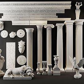 欧式罗马柱模型