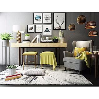 现代沙发椅边几组合3d模型