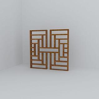 中式花格窗3d模型