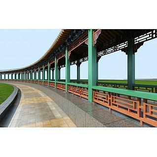 公园景区长廊3d模型