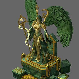 战争女神雕塑3d模型