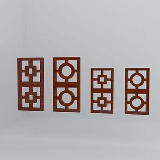 花格木窗3d模型
