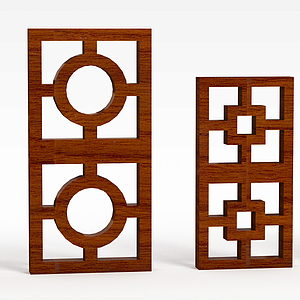 花格木窗模型