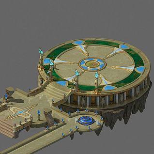 游戏场景圆台3d模型