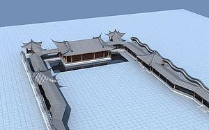 古建戏台和廊架模型3d模型
