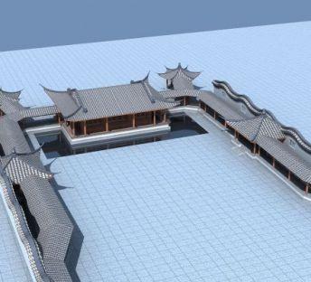 古建戏台和廊架