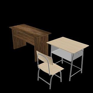 课桌椅3d模型3d模型