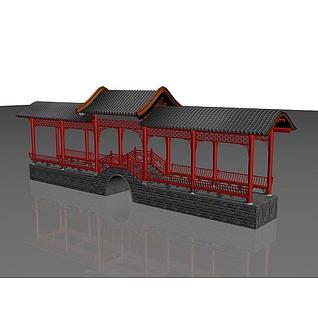 古建廊桥3d模型3d模型