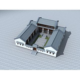 中式四合院3d模型