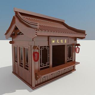 木屋贩卖亭3d模型