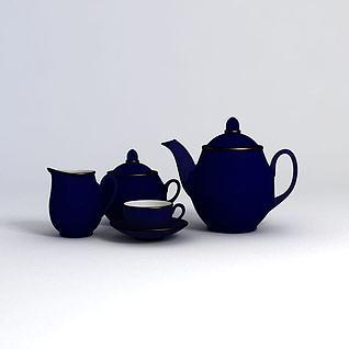 深蓝色茶具3d模型