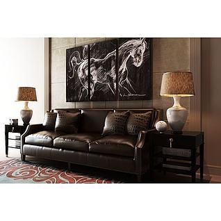 高级沙发茶几组合3d模型