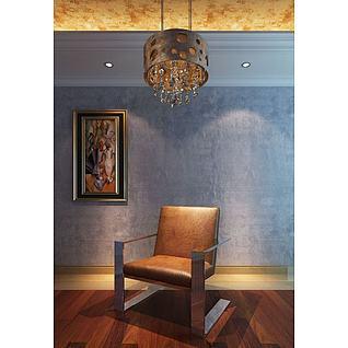 沙发椅吊灯组合3d模型3d模型