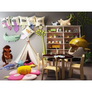 创意儿童桌椅帐篷组合3d模型