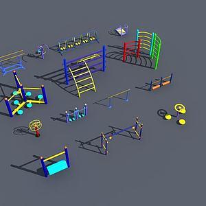 健身运动锻炼器材模型3d模型