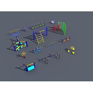 健身运动锻炼器材3d模型