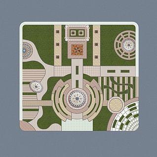 中庭中轴景观广场3d模型3d模型