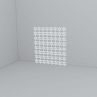 白色花形隔断3d模型