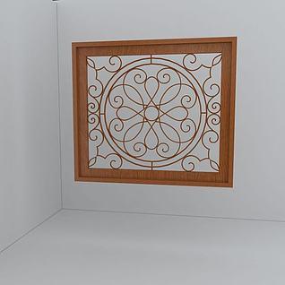 雕花木窗3d模型