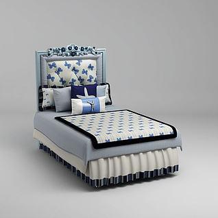 精品单人床3d模型