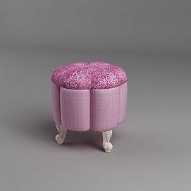 粉色沙发凳模型