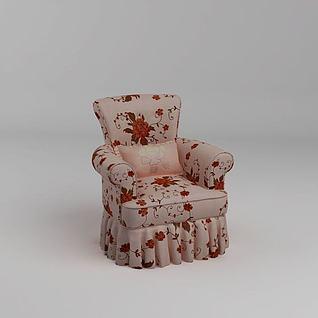 碎花单人沙发3d模型